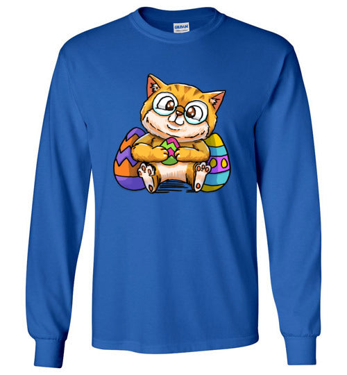 Nedi The Nerdy Cat with Easter Egg Long Sleeve T-shirt-Kucicat