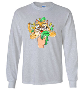Nedi The Cat Kids Long Sleeve T-shirt Cat Loves Money Funny Collections
