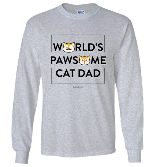 Cat Dad Kids Long Sleeve T-shirt World's Pawsome Cat Dad Series 2-T-shirt-Kucicat