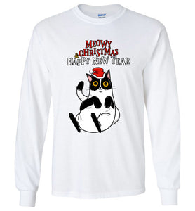 Meowy Christmas and Happy New Year Cat Long Sleeve T-shirt-T-shirt-Kucicat