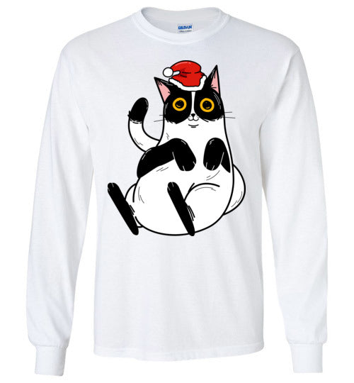 Christmas Cat Long Sleeve T-shirt in 5 Colors X to 5XL-T-shirt-Kucicat