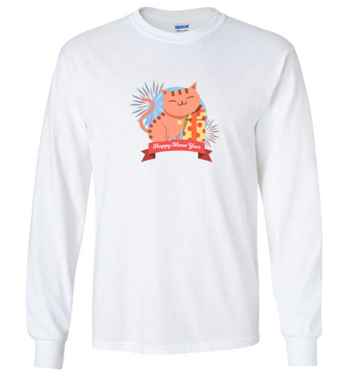 Happy Meow Year Cat Long Sleeve T-shirt-T-shirt-Kucicat