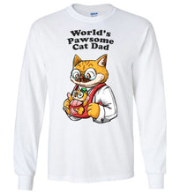 Cat Dad Unisex Long Sleeve T-shirt World's Pawsome Cat Dad S-2XL