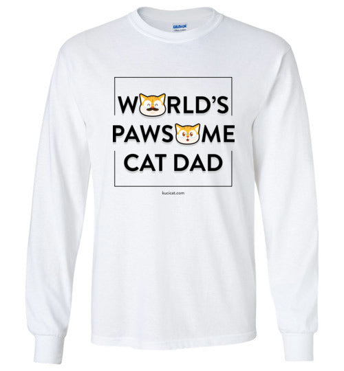 Cat Dad Unisex Long Sleeve T-shirt World's Pawsome Cat Dad Series 2 S-2XL