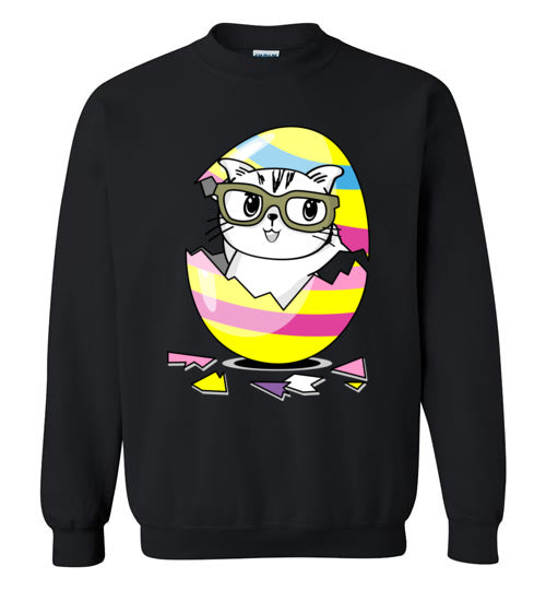 Kiki the Kind Cat Easter - Cracked from an Egg Sweatshirt-sweatshirt-[Color]-[Size]-[Material]-Kucicat