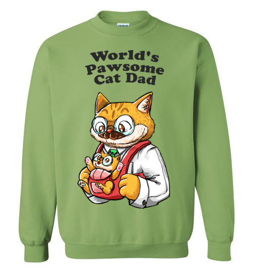 Cat Dad Unisex Sweatshirt World's Pawsome Cat Dad S-2XL-sweatshirt-[Color]-[Size]-[Material]-Kucicat