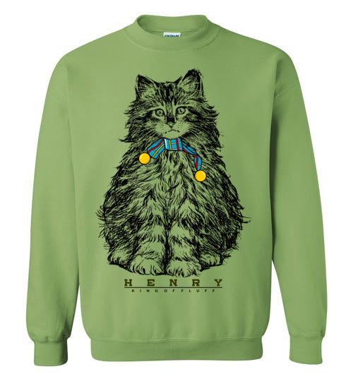 Henry Cat King of Fluff Unisex Sweatshirt S-2XL-sweatshirt-[Color]-[Size]-[Material]-Kucicat
