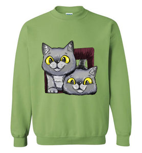Exo and Exi the Excited Cats Unisex Sweatshirt S-2XL-sweatshirt-[Color]-[Size]-[Material]-Kucicat
