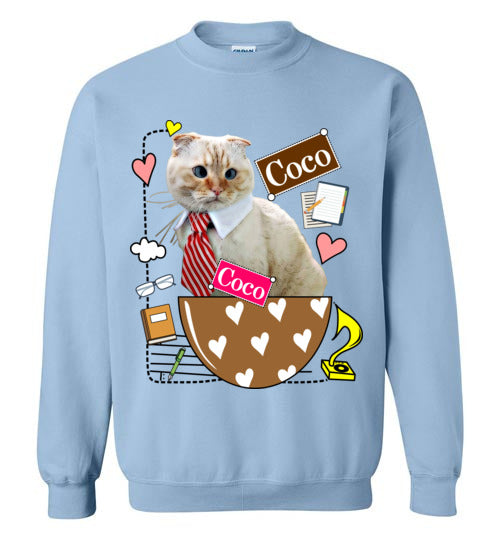 Coco Cat in Work Unisex Sweatshirt-sweatshirt-[Color]-[Size]-[Material]-Kucicat