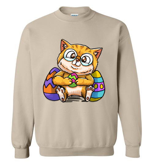 Nedi The Nerdy Cat with Easter Egg Sweatshirt-sweatshirt-[Color]-[Size]-[Material]-Kucicat