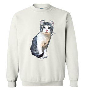 Curly Snow Cat Unisex Sweatshirt S-2XL-[Color]-[Size]-[Material]-Kucicat