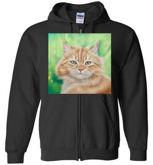 Henry King Cat Painting Zip Hoodie-Hoodie-Black-S-Kucicat