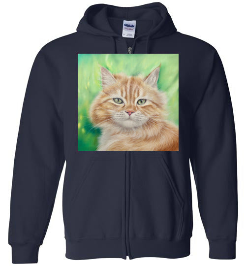 Henry King Cat Painting Zip Hoodie-Hoodie-Navy-S-Kucicat