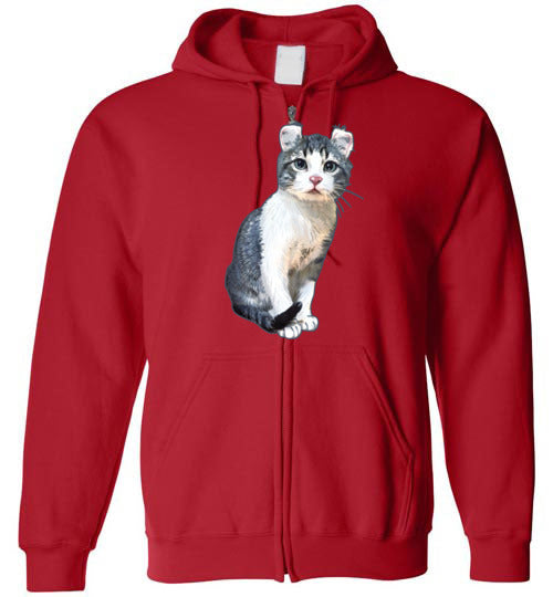Curly Snow Cat Unisex Zip Hoodie Jacket S-2XL-Red-S-Kucicat