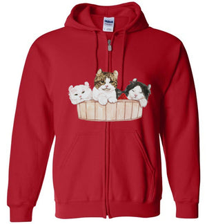 Ameria the Cat Unisex Zip Hoodie Jacket S-2XL-zip hoodie-Red-S-Kucicat