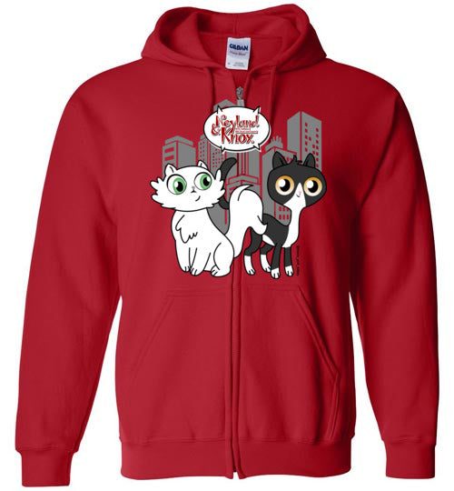 Neyland and Knox the Cat Unisex Zip Hoodie Jacket S-2XL