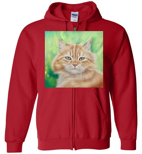 Henry King Cat Painting Zip Hoodie-Hoodie-Red-S-Kucicat