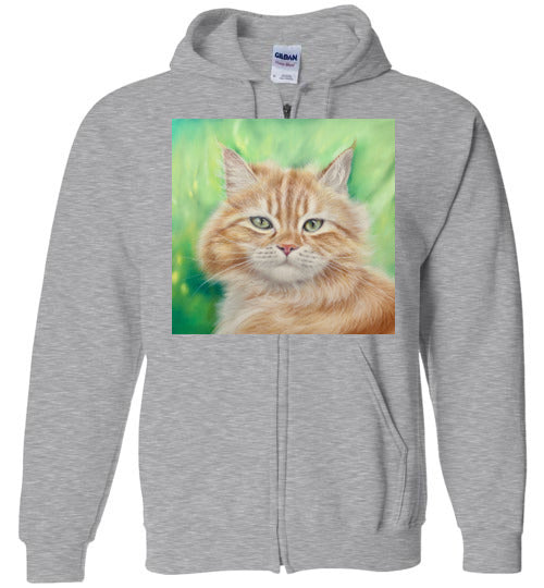 Henry King Cat Painting Zip Hoodie-Hoodie-Sports Grey-S-Kucicat
