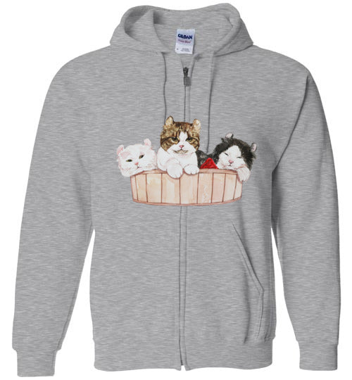 Ameria the Cat Unisex Zip Hoodie Jacket S-2XL-zip hoodie-Sports Grey-S-Kucicat
