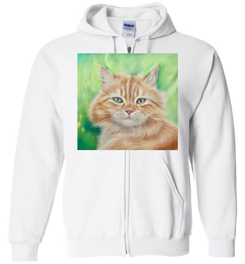 Henry King Cat Painting Zip Hoodie-Hoodie-White-S-Kucicat