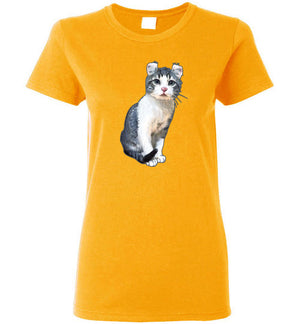 Curly Snow Cat Women's T-shirt-Vardise.com