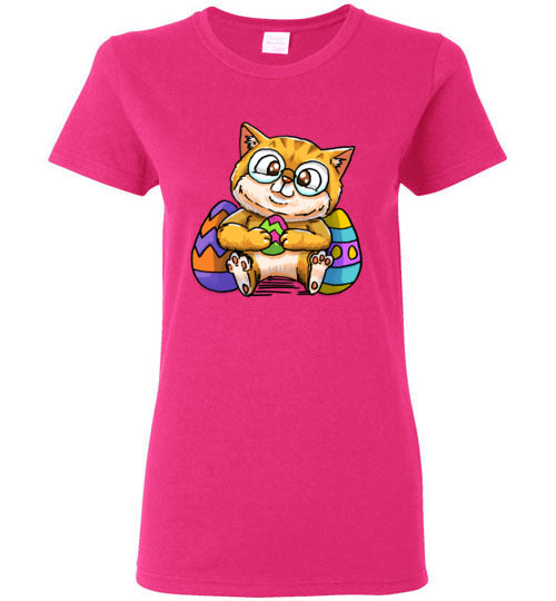Nedi The Nerdy Cat with Easter Egg Women's T-shirt