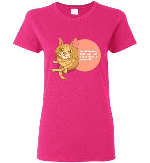 Cat Mom Women's T-shirt I Work Hard So That My Cat Could Have A Better Life S-2XL-T-shirt-Heliconia-S-Kucicat