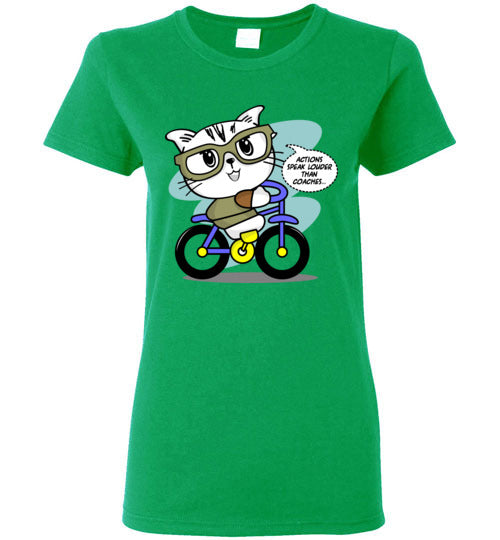 Kiki The Kind Cat Actions Speak Louder Than Coaches Motivational Women's T-shirt S-2XL-T-shirt-Kucicat