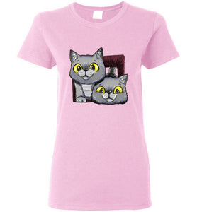 Exo and Exi the Excited Cats Women's T-shirt S-2XL-T-shirt-Kucicat