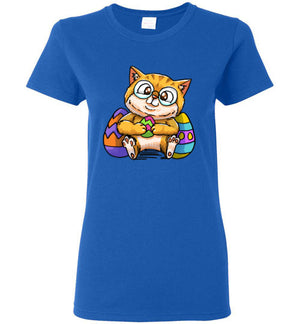 Nedi The Nerdy Cat with Easter Egg Women's T-shirt-T-shirt-Kucicat