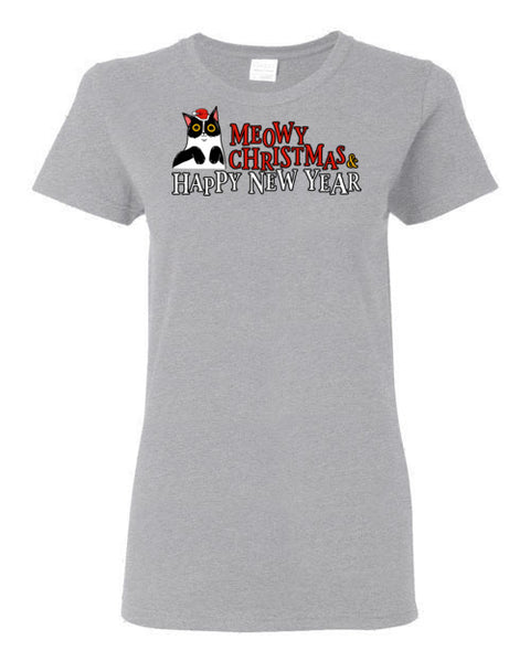 Meowy Christmas and Happy New Year Happy Cat Women's T-shirt-T-shirt-Kucicat