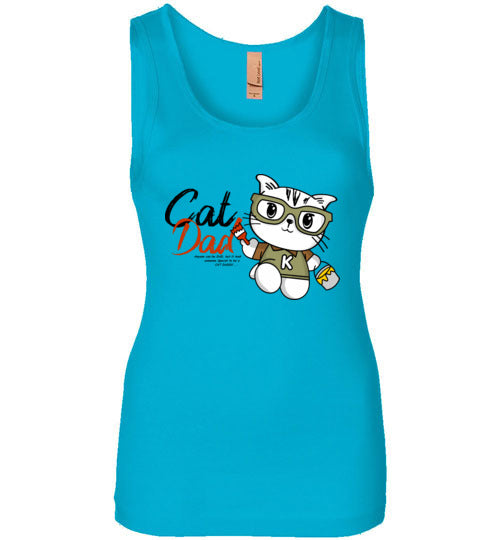 Cat Dad Women's Tank Top Special to be a Cat Daddy S-2XL-Tank Top-Turquoise-S-Kucicat