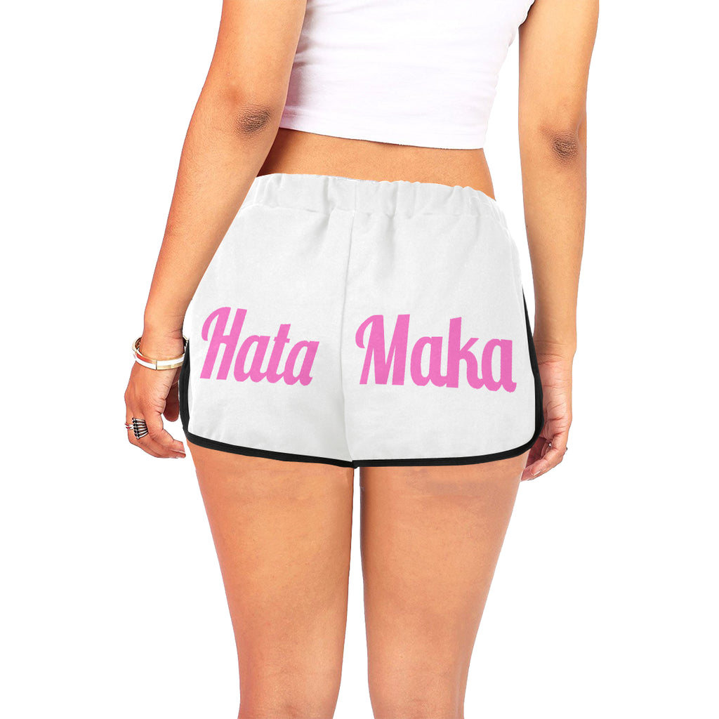 Hata Maka Pink Official White Women's All Over Print Relaxed Shorts