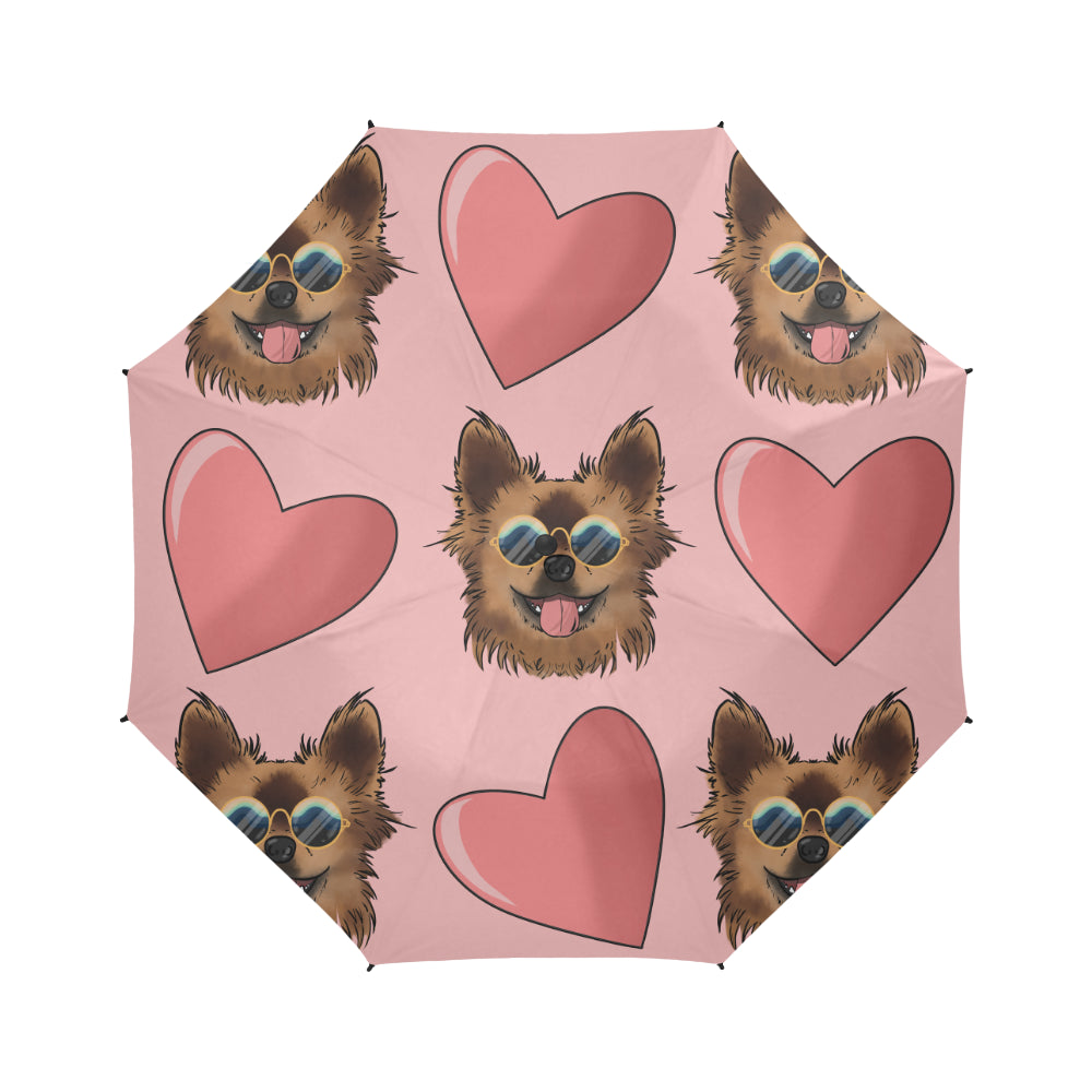 Chewie Love Pattern Semi-Automatic Foldable Umbrella