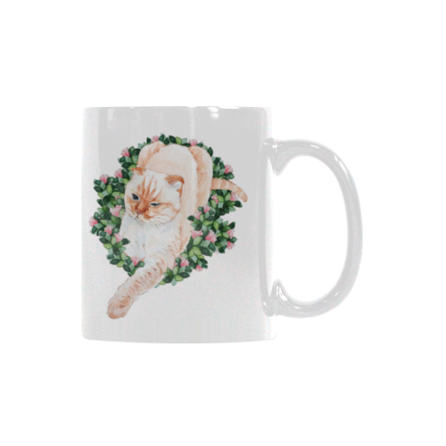 Coco Cat Watercolor Design White Mug(11OZ)-White Mug-One Size-Kucicat