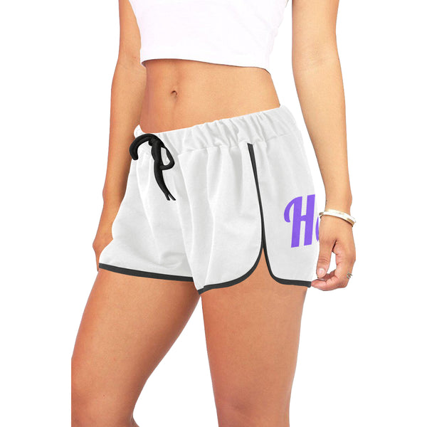 Hata Maka Purple Official White Women's All Over Print Relaxed Shorts