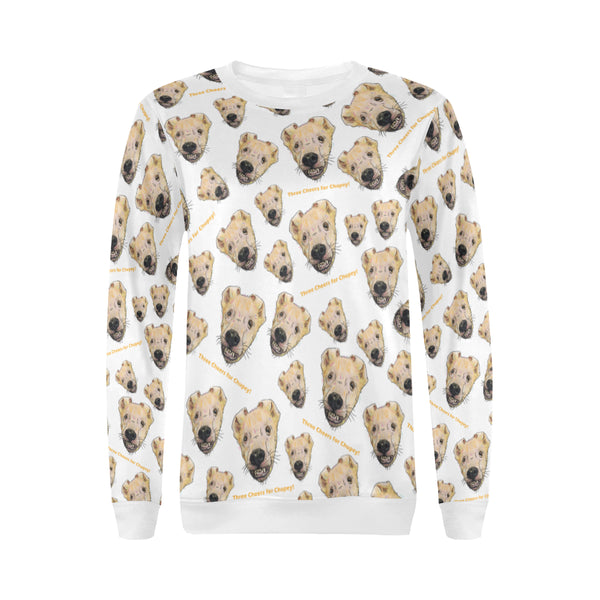 Chupey White All Over Print Crewneck Sweatshirt for Women