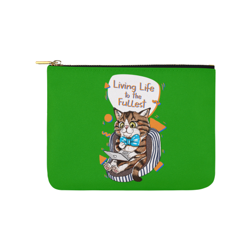 "Rexie Cat - Living Life to the Fullest Pouch-Accessory Pouches-8"" x 6""-Rexie Cat - Living Life to the Fullest Carry-All Pouch 8''x 6''-Kucicat"