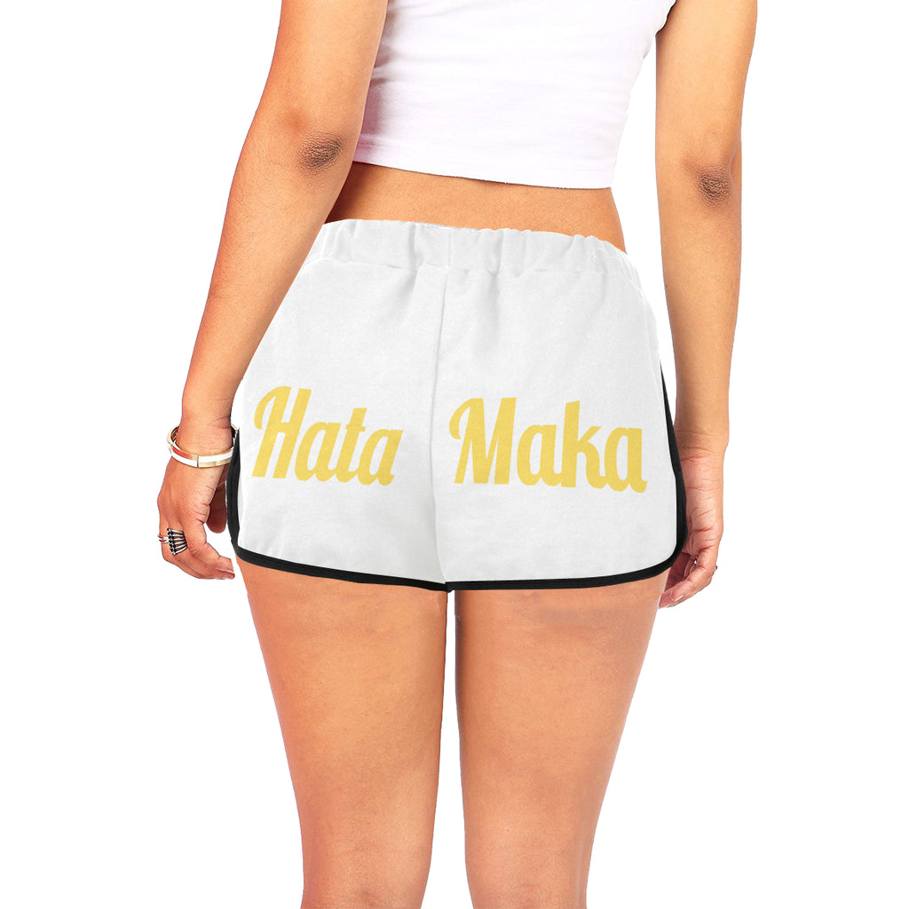 Hata Maka Yellow Official White Women's All Over Print Relaxed Shorts