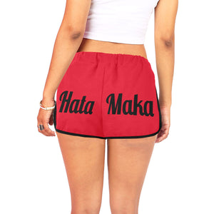 Hata Maka Black Official Red Women's All Over Print Relaxed Shorts