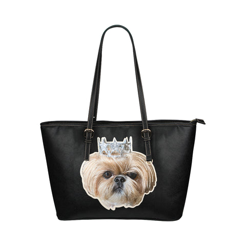 Bijou Fluff Dog Crew Official Leather Tote Bag