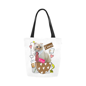 Coco in Office Canvas Tote Bag-Kucicat