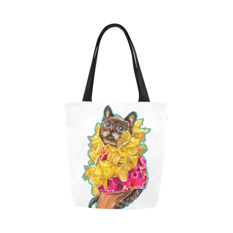 Mili the Mini Cat Canvas Tote Bag-Kucicat