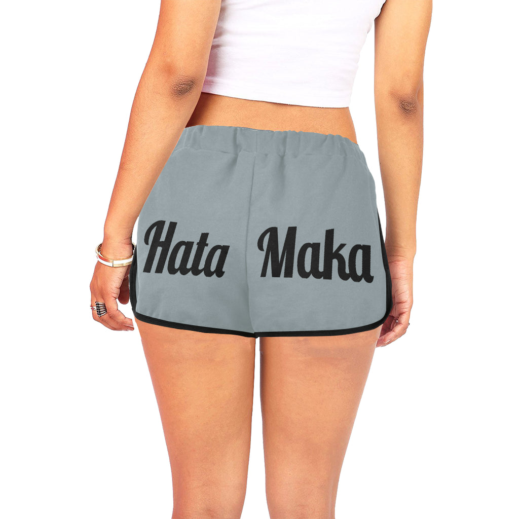 Hata Maka Black Official Gray Women's All Over Print Relaxed Shorts