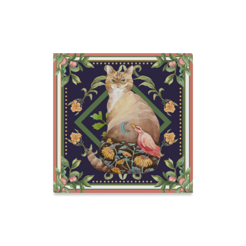 "Botanicat Watercolor Canvas Print 16"" x 16"" Collection"