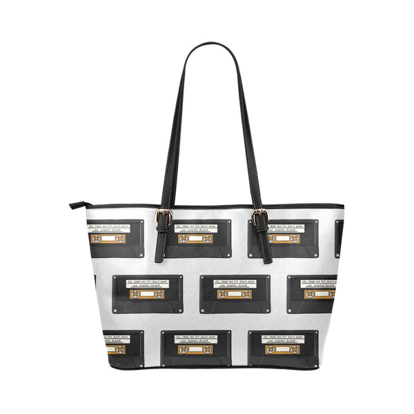 Hata Rock Cassette All Over Leather Tote Bag-Kucicat