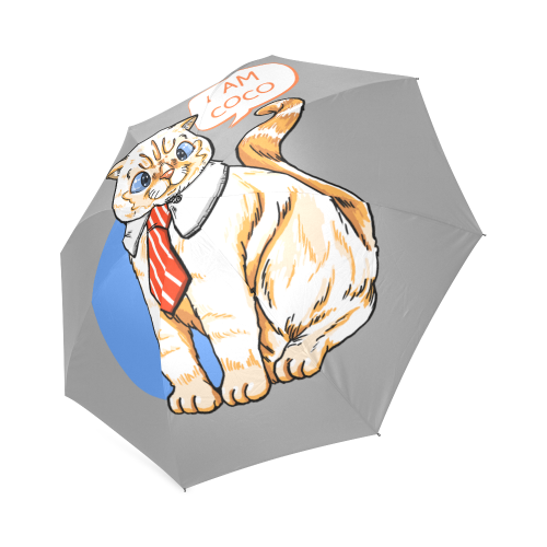 Coco Cat with Tie Foldable Umbrella-Foldable Umbrella-[Color]-[Size]-Kucicat