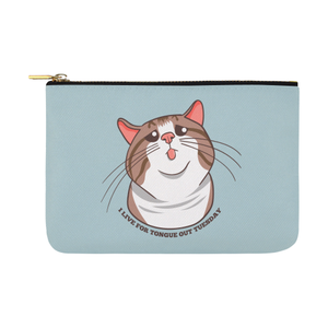 Rexie Cat I live For Tongue Out Tuesday Pouch-One Size-Rexie Cat I Live For Tongue Out Tuesday Carry-All Pouch 12.5''x8.5''-Kucicat