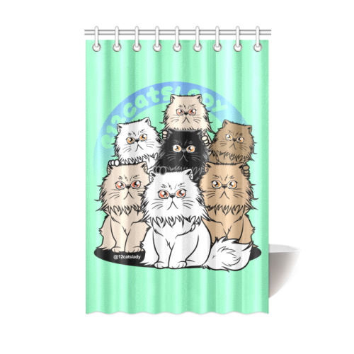 12Catslady Shower Curtain 48
