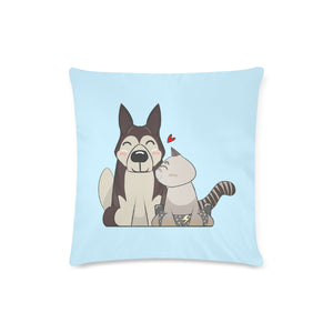"HarPURR and Cinder Custom Zippered Pillow Case 16""x16"" (Twin Sides)"